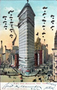 New York City NY - FLAT IRON BUILDING looking down 5th Avenue and Broadway 1900s
