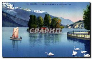 Postcard Old Annecy L'Ile des Cygnes and the Spinner