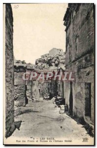 Old Postcard Les Baux Rue des Fours and Ruins of the feudal Chateau