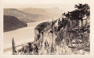 Crown Point Vista House Columbia River Oregon OR Real Photo Postcard RPPC