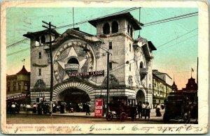 1905 CONEY ISLAND, New York Postcard GALVESTON FLOOD Ride / Street View