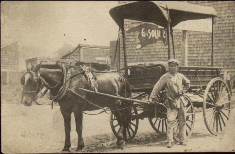 American Express Horse Wagon & Driver Earl St. Clair Gas Sign RPPC Hamel dcn