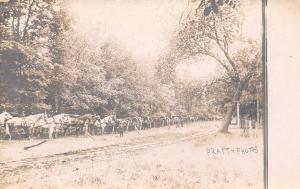Sumner Colesburg Fayette Iowa~Long Row of Horses Hitched~Twin Bridges~1910 RPPC