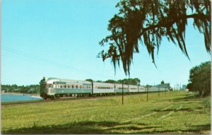 postcard Amtrak train The Champion - Seaboard Coast Line RR at Lake Alfred FL