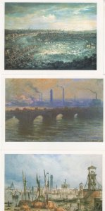 Frost On The River Thames Waterloo Bridge 3x London Painting Postcard s