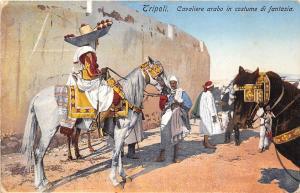 B92004 cavaliere arabo in costume di fantasia types  tripoli  libya  africa