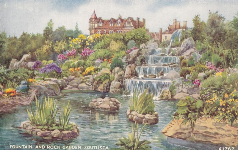 SOUTHSEA, England, 1930-1950s; Fountain And Rock Garden
