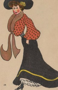Woman wearing large black hat and brown boa, PU-1906