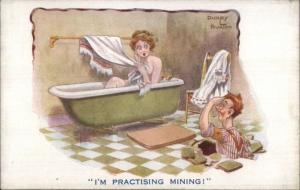 Man Mining Ends Up in Woman's Bathroom Nude Woman in Bath DUDLEY BUXTON