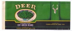 Deer Green Beans Taormina Donna Texas Vintage Can Label
