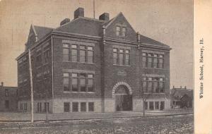 Harvey Illinois~Whittier School~Houses Behind~1905 B&W Postcard