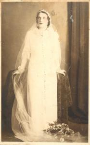 Bride dress vintage photo postcard