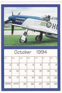 October 1994 Limited Editon Calendar Cardm AirShow '94 North American P-51 Mu...