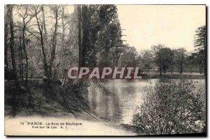Old Postcard Paris Bois de Boulogne overlooking Lake
