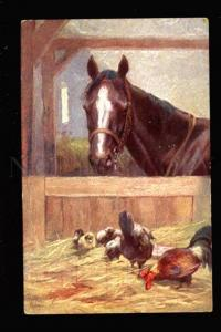 3032081 HORSE in Stable w/ ROOSTER. Vintage B.K.W.I.