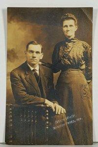 RPPC Susan Lapole & Man c1915 Hiedwohl Studio Hagerstown Md Postcard K2