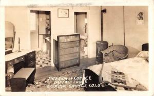 Colorado Springs Buffalo Lodge Cottage Interior Real Photo Postcard K65748