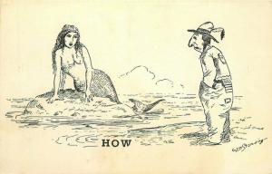 Comic Humor Native American Sexual Innuendo Mermaid Postcard 3691