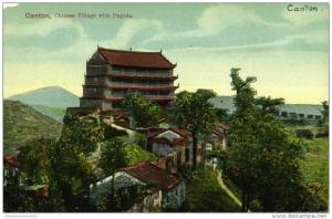 china, CANTON GUANGZHOU, Chinese Village with Pagoda (1910s) Postcard