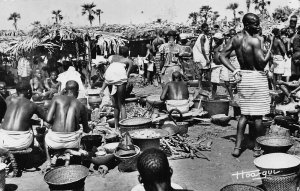 Chad Tchad Village market real photo postcard