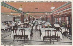 LOS ANGELES , California , 1910s ; Dining Room , Hotel Rosslyn