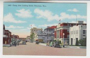 P2092, vintage postcard traffic stores etc carey ave cheyenne wyoming unused