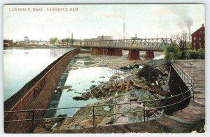 Lawrence Massachusetts~Fenced Boardwalk Around Dam~Bridge~Shoreline~1911