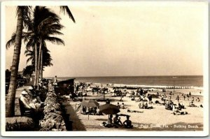Palm Beach, Florida RPPC Real Photo Postcard Bathing Beach Made in Switzerland