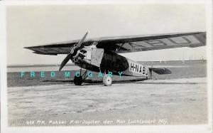 1925 KLM Real Photo Postcard: Fokker F-III That Crashed in 1926, Airline-Issued