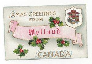 WELLAND, Ontario, Canada, 1900-10s; X-mas Greetings # 2, Embossed Coat of Arms