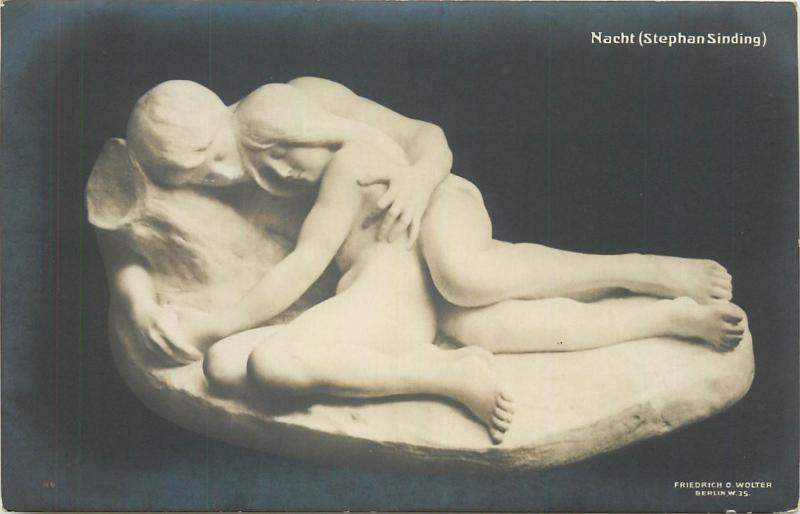 Early art postcard nudes in sculpture  Nacht  Night by Stephan Sinding