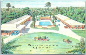Brunswick, Georgia Postcard SEABREEZE MOTEL Artist's View Hwy 17 Roadside 1963