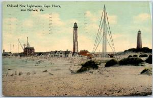 Norfolk, Virginia Postcard Old & New Lighthouses, Cape Henry Beach View 1910