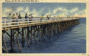 Fishing Off the Pier Cool Cape May NJ 1945