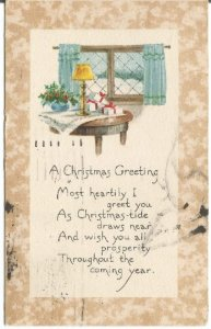 Christmas Presents on a table by Window with Winter Landscape Vintage Postcard