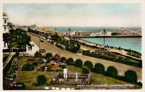 West Cliff & Pier Clacton-On-Sea Essex England old cars Colorized RPPC Postcard