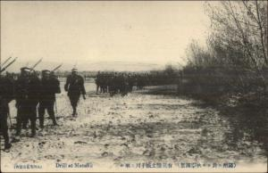 China -- Military Drill at Manshu c1910 Postcard