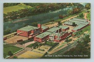Tobin Packing Co Plant Railroad Tracks Train River Fort Ft Dodge Iowa Postcard