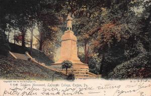 Soldiers Monument, Lafayette College, Easton, PA, Early Postcard, Used in 1906