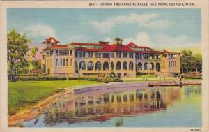 Michigan Detroit Casino and Lagoon Belle Isle Park 1958 Curteich
