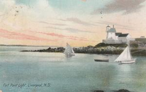 Light House and Sailboats at Fort Point - Liverpool NS, Nova Scotia, Canada