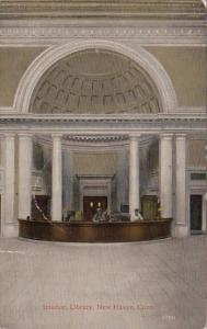 Connecticut New Haven Library Interior 1916