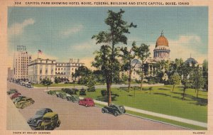 Boise Idaho ID State Capitol Park Hotel Federal Building 1941 Banks Postcard C16