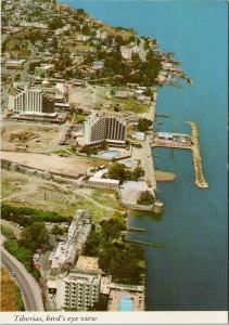 Tiberias Israel Sea of Galilee Birdseye Unused Vintage Postcard F6