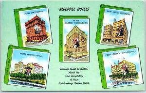 1940s Florida KLOEPPEL HOTELS Postcard Jacksonville/West Palm Beach 5 Locations