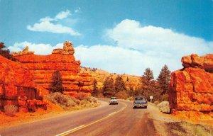 Red Canyon, Utah Highway 12 Old Cars ca 1950s Vintage Postcard