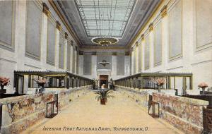 C71/ Youngstown Ohio Postcard c1910 Interior First National Bank Building