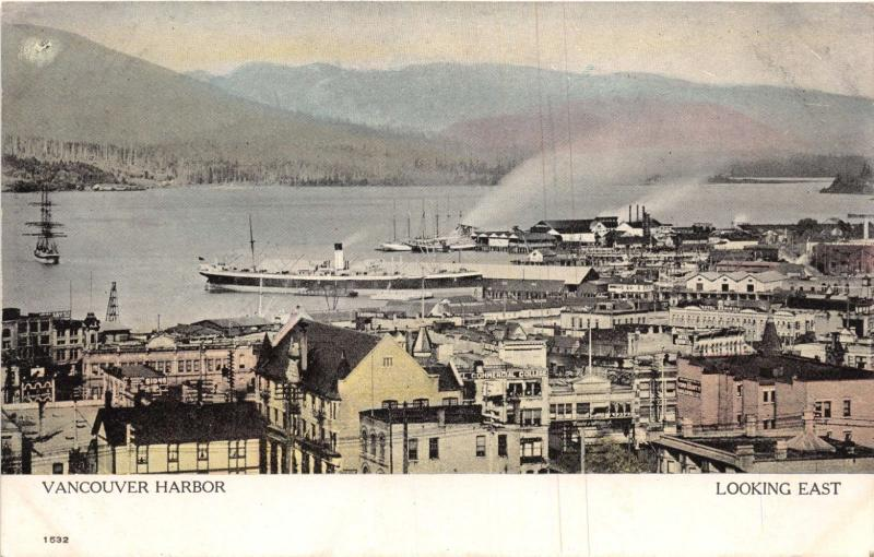 VANCOUVER BC CANADA VANCOUVER HARBOR LOOKING EAST POSTCARD 1910s