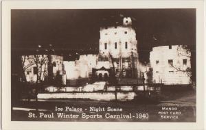 Minnesota Mn Real Photo RPPC Postcard 1940 ST PAUL WINTER SPORTS CARNIVAL Palace