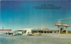 c1950s Roadside Postcard; Clines Corners NM Cafe Curio & Gas Station Route 66